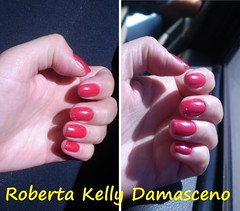 Grão de Café - Risque (Roberta Kelly Damasceno) Tags: café de vermelho nails risque unha grão rosado esmalte