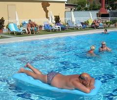 Corfu Arillas PJ lolling on a lilo (pj's memories) Tags: pool greece lilo corfu arillas tanthru kiniki kaloudis