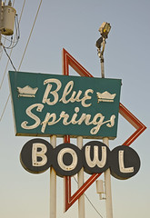 BLUE SPRINGS BOWL (FotoEdge) Tags: blue red sky white signs sign nikon midwest neon bs steel rusty bowl pins missouri roadside crusty strikes relic lanes spares bluesprings d600 40hwy fotoedge nikond600 bobtravaglione