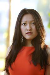 Ming Ming (Sarah Sonny) Tags: autumn portrait orange woman fall asian outdoors dress bokeh makeup naturallight lipstick browneyes