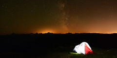 Camping at 6000 ft. (Christopher J. Morley) Tags: city camping camp sky baby mountain canada beautiful night way lights nikon october warm glow baker bc view peak columbia tent hike illuminated valley backpack knight british fraser range milky overnight wanderung munday cheam d600