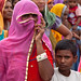 A woman listens to UN Women Executive Director at the gram sabha, or village assembly meeting, in Barrod village of Rajasthan's Alwar district on 5 October 2012