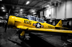201201657 (garydrakephotos) Tags: california yellow plane sandiego ussmidway blackandwhitewithcolor snjtexan