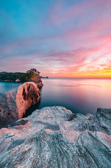 Sunset Breeze at Cape Dogashima (-TommyTsutsui- [nextBlessing]) Tags: longexposure blue autumn light sunset red sea sky seascape nature yellow japan clouds landscape coast nikon purple magic tide scenic       islet izu  dogashima   nishiizu sigma1020 onsalegettyimages