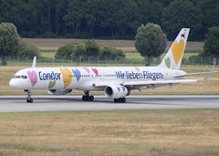 D-ABON_757-330_EDDM_8567 (Mike Head - Jetwashphotos) Tags: boeing 757 757300 757330 de cfg condor munich germany europe jwp landed taxiing