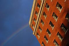 DSC_6315 [ps] - Crock (Anyhoo) Tags: anyhoo photobyanyhoo holloway london england uk lowsun urban red brick manorgardens masonry stone bluesky row repetition wall facade faade cornice stonework rainbow