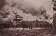 """SHIP FIRE DISASTER preparing to depart AARR ANN ARBOR RAILROAD WOOD HULLED NO.1 3-8-1910 BF Tulledge at Manitowoc Captain with fully loaded Ship BURNED in less than 10 minutes Photo MELENDY (UpNorth Memories - Donald (Don) Harrison) Tags: """" """"railroad ferry"""" """"car excursion vintage antique postcard rppc """"don harrison"""" """"upnorth memories"""" upnorth memories upnorthmemories michigan history heritage travel tourism """"michigan roadside restaurants cafes motels hotels """"tourist stops"""" """"travel trailer parks"""" campgrounds cottages cabins """"roadside entertainment"""" """"natural wonders"""" attractions usa puremichigan"""