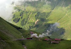 Swiss (BRB) Brienz-Rothorn Bahn 800mm gauge Class H 2/3 rack loco No. 2 is seen from the Rothorn Kulm summit station on 11 August 2016 (A Scotson) Tags: rackandpinion rackrailway cograilway slm brienz rothorn brienzrothornbahn brb swiss steam 800mmgauge narrowgauge mountains chalet locomotive train