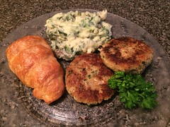 Salmon croquettes, spinach mashed potatoes (stevenbr549) Tags: dish dinner food plate kitchen counter salmon croquettes croquette canned spinach mashed potatoes crescent roll parsley