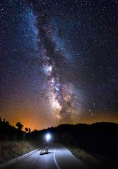 I found my way (ilias varelas) Tags: milkyway stars starry night trees road ilias varelas selfportrait sky light landscape longexposure mood atmosphere heaven space galaxy greece colours