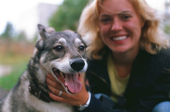 Tjara (Iurii & Natali) Tags: dog girl smile laughting portrait film velvia fuji color slide chrome analogue vintage summer nikon f80