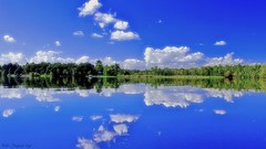 Calm Reflection (Bob's Digital Eye) Tags: blue bobsdigitaleye canon cloud clouds cpfiltered efs24mmf28stm green lake lakescape landscape outdoor sky t3i water laquintaessenza flickr flicker