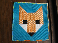 fox mini quilt (I'm John's Daughter) Tags: fox amybutler miniquilt aqua orange cgqc