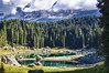 20160902_Lago di carezza (Matteo Biguzzi [bigu77]) Tags: lake carezza montain dolomiti dolomites freedom relax trentino travell unescoworldheritage 2016 gree sky blue clouds canon eos500d eosrebelt1i