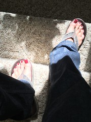 Skyfall - on stairs and in the sun (toepaintguy) Tags: male guy men man masculine boy nail nails fingernail fingernails toenail toenails toe foot feet sandal sandals polish lacquer gloss glossy shine shiny sexy fun daring allure gorgeous glitter maroon red brown creme