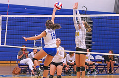 IMG_5467 (SJH Foto) Tags: net battle spike block action shot jump midair girls volleyball high school lancaster mennonite pa pennsylvania team tween teen teenager varsity