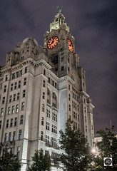Red in the face (alun.disley@ntlworld.com) Tags: royalliverbuilding liverbirds clocks architecture building trees liverpool merseyside england uk waterfront night longexposure northwestengland panorama weather