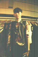 A Guy In A Flower Shirt (MaskedPanda) Tags: film fashion 35mm la lomo lomography sardina blogger fujifilm domino toycam