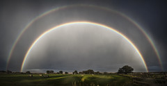 Evening Rainbow (Jonmikel & Kat-YSNP) Tags: sky cloud tree field grass rain clouds rainbow wyoming hay rainbows doublerainbow strom lander landerwy fremontcounty