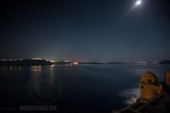 Bright Moonlit Night and Caldera (alpenbild.de) Tags: sea summer moon castle nature water night stars landscape island mond nikon meer wasser nacht sommer natur aegean insel santorini greece ia griechenland landschaft fortress santorin burg sterne d800 festung egeo ägäis d800e nikond800e alpenbildde