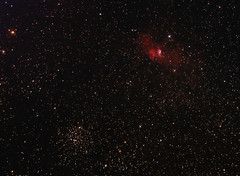 The Bubble Nebula and M52 in Cassiopeia 3 September 2012 (BudgetAstro) Tags: nikond70 astrophotography astronomy dss dso bubblenebula ngc7635 m52 ngc7654 deepskystacker deepskyobject Astrometrydotnet:status=solved sharpless162 Astrometrydotnet:version=14400 caldwell11 Astrometrydotnet:id=alpha20120991499236
