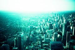 torontó (Ceithwyr) Tags: city blue summer white toronto canada black building green tower film cn buildings grey lomo lca xpro lomography xprocess cntower crossprocess gray grain canadian lomolca velvia roads velvia50 iso50 velvia5