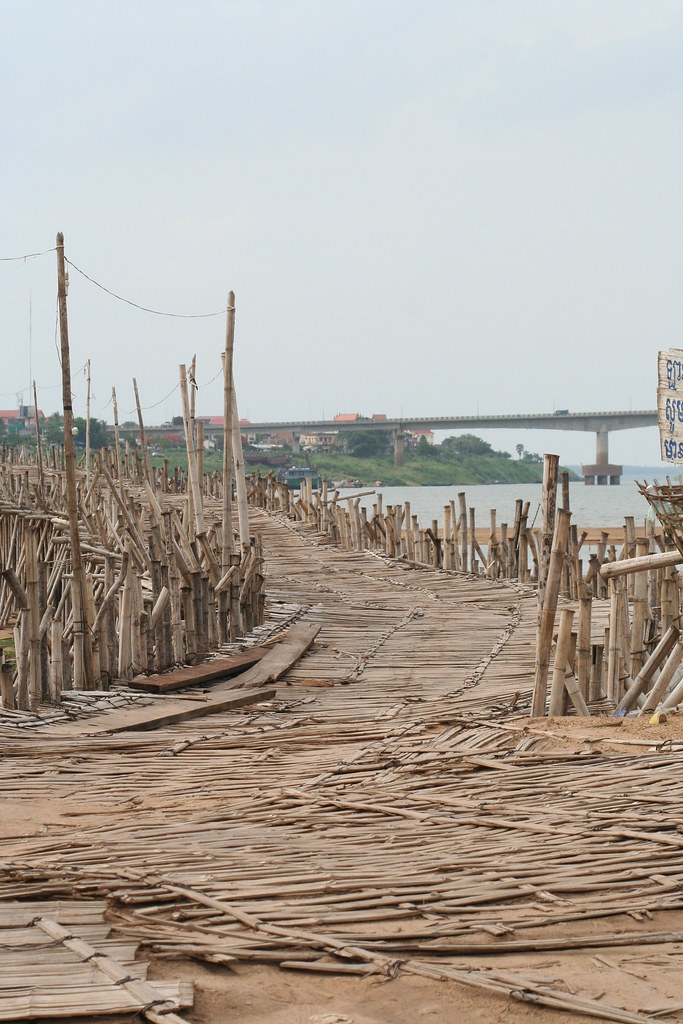 The bamboo bridge, Kompong Cham, Cambodia