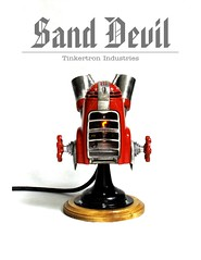 Sand Devil (Tinkerbots) Tags: red sculpture make electric vintage fire robot sand punk industrial machine flame scifi devil diablo furnace comiccon raygun powertool steampunk sander machineage danjones dieselpunk sanddevil tinkerbots tinkertronindustries
