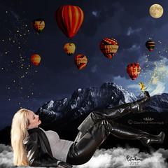 Comtesse Monique_dreaming_of_mountain (piloukam) Tags: blue black nature girl shoes noir highheels boots barbie gimp bleu heels spike neige nuit bottes compositing lany fekete hautstalons comtessemonique