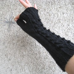 Black Cable/ Bobble Long Fingerless Gloves Fingerless Mittens Knit Elegant Wool Classic Urban Fashion Rustic Elastic (handknitbydimana) Tags: black classic wool girl fashion knitting long acrylic traditional knit gloves romantic accessories armwarmers fingerlessmittens handknitting fingerlessgloves woll longgloves knitgloves blendyarn womanwomenlady handmadebydimana longmittens cablebobblepattern patternolivebranch