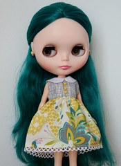 Yellow floral blythe doll dress