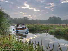 The Kennet & Avon canal near Aldermaston Wharf (ceeko) Tags: england boat cattle fields berkshire kennetavon ufton 2011 olympuse3