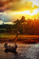 ... (Shutterfreak ☮) Tags: trees people sunlight water colors river landscape island evening daylight boat fishing fisherman nikon warm lifestyle ripples filters 70300mm dip bangladesh d5000 nijhum inkiad