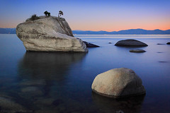 Bonsai Rock Light Painted (Steve Sieren Photography) Tags: lake lightpainting night dusk nevada fineart tahoe icon bonsairock