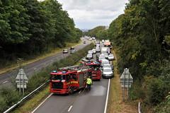 Lorry Fire on A45 (Jane Harrington) Tags: bridge fire nikon accident lorry firemen a45 trafficjam nikond700