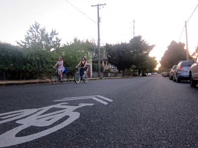 neighborhood greenway with sharrow