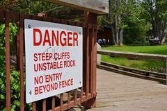 Danger: Steep Cliffs (Vegan Butterfly) Tags: ontario sign rock danger warning cliffs caution steep kakabekafalls unstable