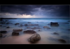 Rock Hopping (accesser) Tags: sky seascape motion water rain weather sunrise rocks australia silky watter nd400 queesland leefilters pointarkwright 5dii mg6887
