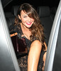Lizzie Cundy outside Mahiki nightclub London, England