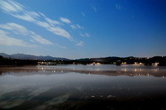 Lago di Posta Fibreno - Misty Lake (The.Dark.Passenger.) Tags: blue light sky mist lake reflection water misty fog night clouds lago nuvole cielo luci nebbia acqua riflessi notte posta fibreno longexposition postafibreno