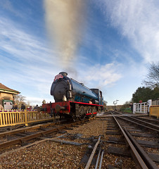 The Isle of Wight Steam Railway (s0ulsurfing) Tags: uk blue winter light england sky cloud english weather clouds composition canon vintage fence skyscape island track december skies britain pov patterns wide perspective engine railway wideangle steam line vectis isleofwight 7d british locomotive isle cloudporn nube steamengine steamrailway wight locomotives foreground meteorology nephology picketfence railtrack 10mm leadinglines waggoner 2011 sigma1020 havenstreet southernline s0ulsurfing isleofwightsteamrailway saddletankengine 060st vertorama canon7d jasonswain 1953vintage thegreatsttrinianstrainrobbery britainsheritagerailways hunsletworksno3792 nowd192
