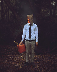 Businessman (Kyle.Thompson) Tags: boy guy businessman forest bag fire woods head tie 365 kylethompson