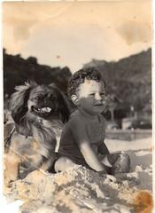 the toddler and the doggie - pure cuteness!! (meeeeeeeeeel) Tags: blackandwhite playing cute beach fun sand toddler professional pekingese oldphoto curlyhair vintagephoto vintagebaby vintagedog vintagepet vintagepicture toddleranddog vintagetoddler