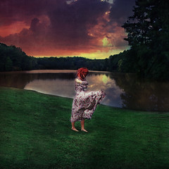 The Whispering Wind (jac brody) Tags: trees sunset sky lake color texture water girl dress wind imagination redhair whispers learn texturebylesbrumes