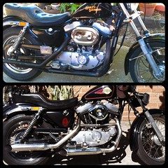 Before and after. (Rick.O.) Tags: auto old classic vintage square cool power muscle wheels engine automotive harley chrome wicked american squareformat harleydavidson motorcycle machines custom sportster kustom xlh iphoneography
