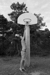 Basketball © (Blackcatatheart) Tags: park portrait 6 white man black tree classic public basketball sport pine outdoors basket natural outdoor expression character expressions personality minimal land caricature tall recreation reach simple height sandles
