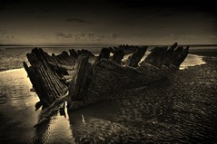 Berrow Sands. SS. Nornen III (Lindi m) Tags: seascape abandoned sepia wreck shipwrecked forgotton ssnornen ringexcellence dblringexcellence tplringexcellence