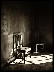 Two Empty Chairs (Feldore) Tags: two people dark person death parents wooden chair missing shadows mourning empty room belfast minimal mchugh departed feldore
