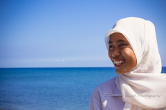 Muslim Girl and the Sea (hazy jenius) Tags: travel portrait woman girl indonesia asia sailing muslim islam hijab adventure tropical hayes hazy kampung bugis sumbawa jenius wera jilbab seatrek ombakputih jenniferhayes