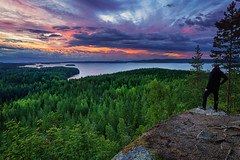 Hyyppnvuori sunset (L.Matero) Tags: blue trees sunset sky orange mountain lake green water beautiful canon suomi finland evening colorful serene f4 selfie 6d laukaa 1635 hyyppnvuori